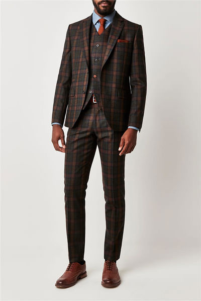 Gibson London Green Tartan Check Slim Fit Suit