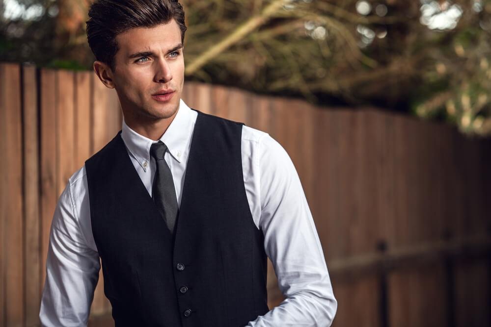 handsome man wearing a waistcoat