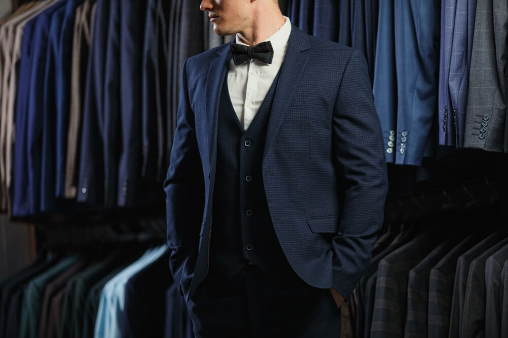 navy suit with blue waistcoat