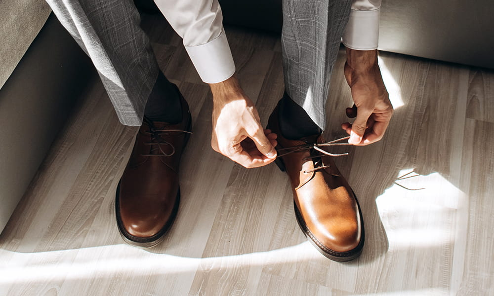 Grey suit, brown shoes - are they still a menswear match?