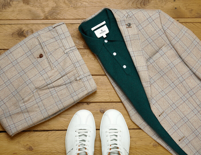 polo shirt with suit trousers suit jacket and trainers