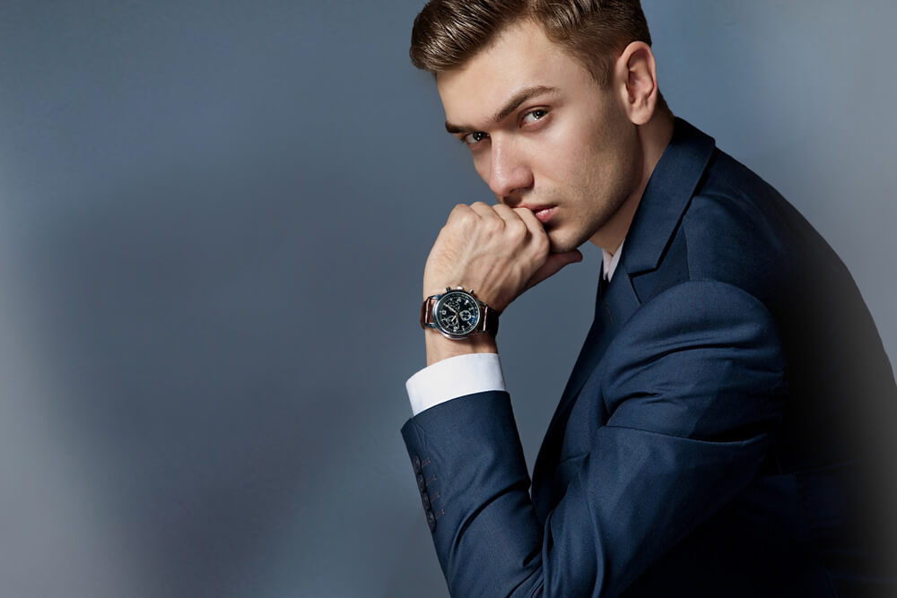 sharkskin suit and watch