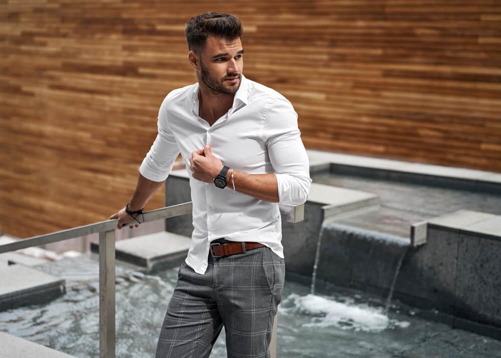 man wearing slim fit shirt