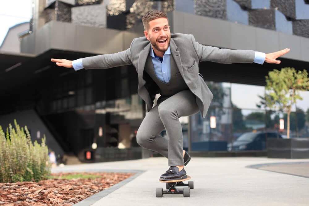 man wearing sharkskin suit