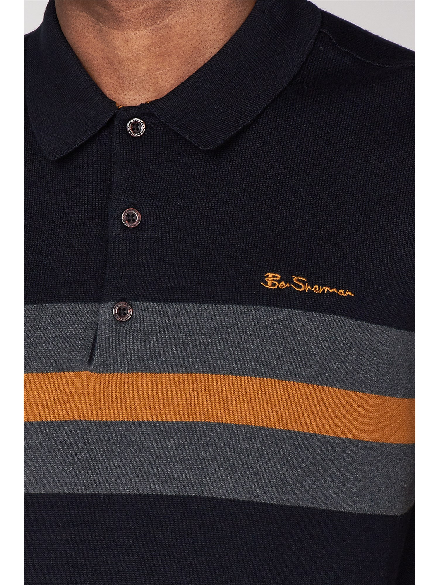 a54be3348ef Ben Sherman | Black & Orange Knitted Polo Shirt | Suit Direct