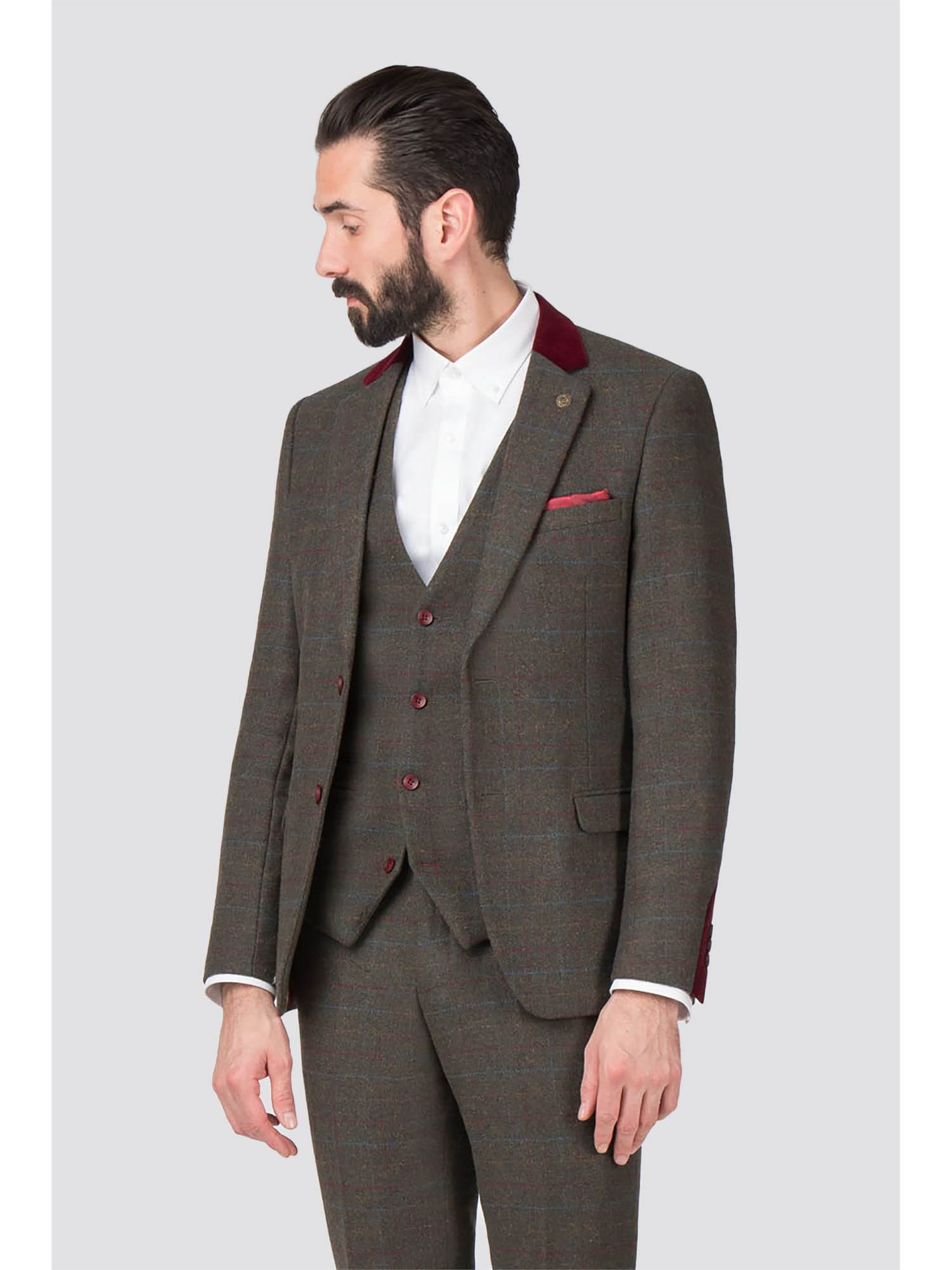 16dbdd2e444e58 Marc Darcy | Andrew Green Tweed Checked Suit | Suit Direct