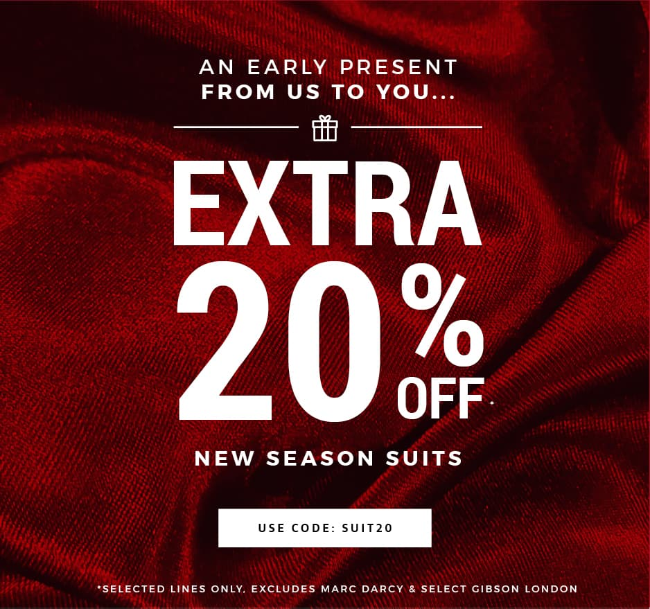 An Extra 20% Off Men's Suits, Jackets & Partywear