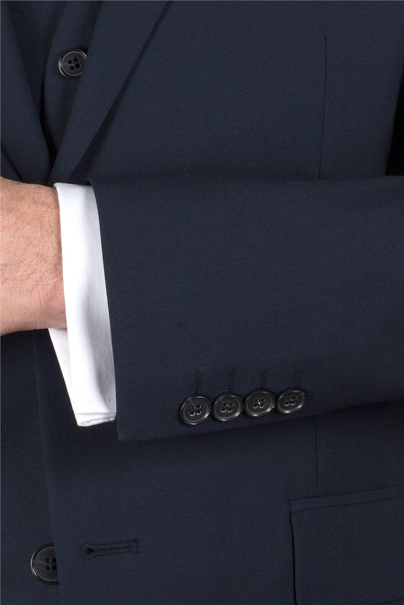 Navy Plain Wool Blend Regular Fit Travel Suit Jacket