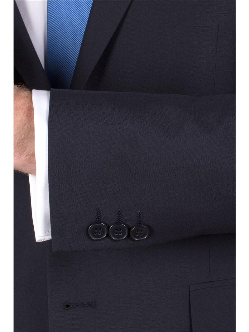 Navy Plain Weave Tailored Fit Suit Jacket