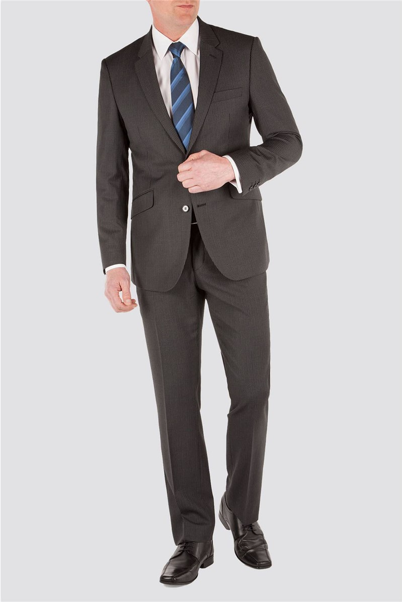 Grey Narrow Stripe Suit Jacket