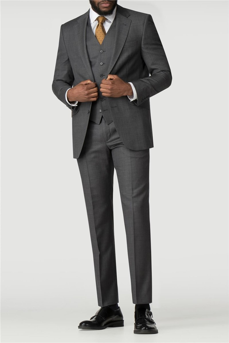 Grey Pick And Pick Regular Fit Suit