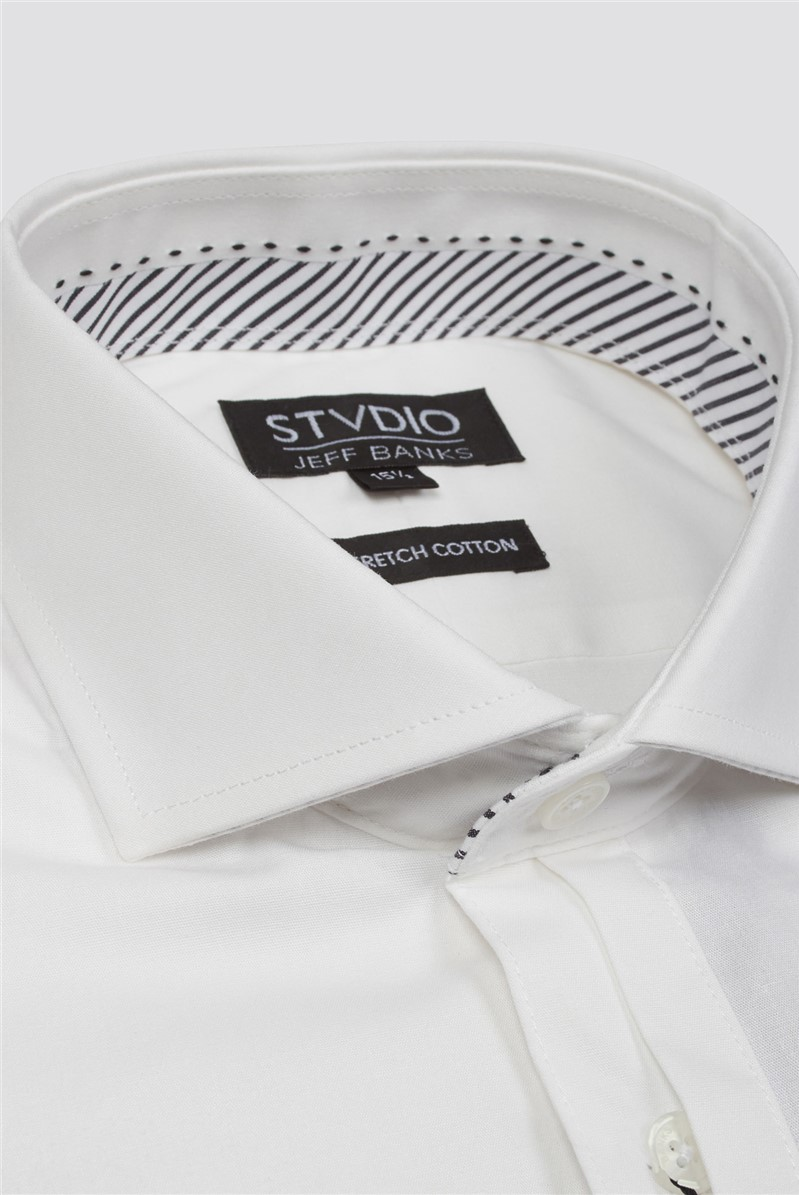 Stvdio by  White Stretch Poplin Shirt