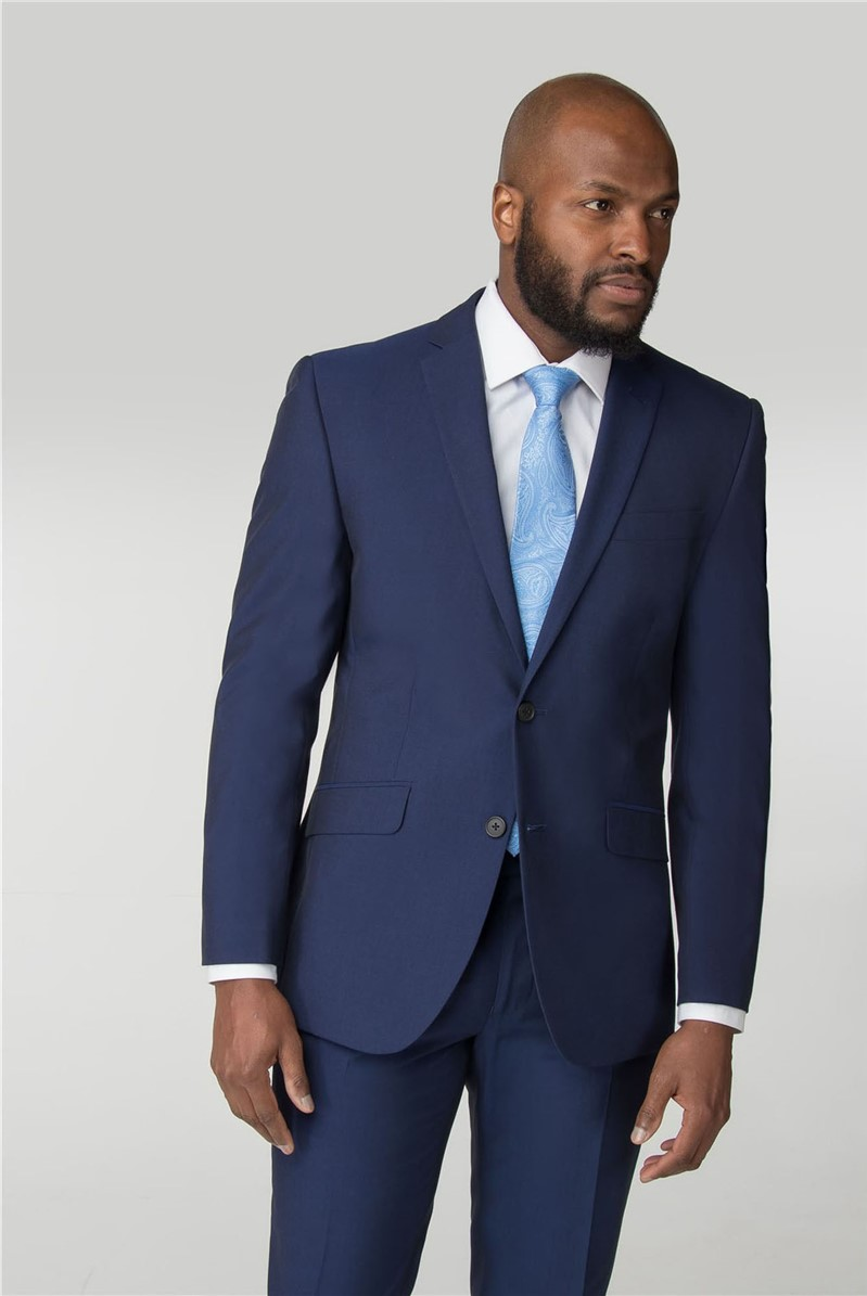 Blue Plain Tailored Fit Suit