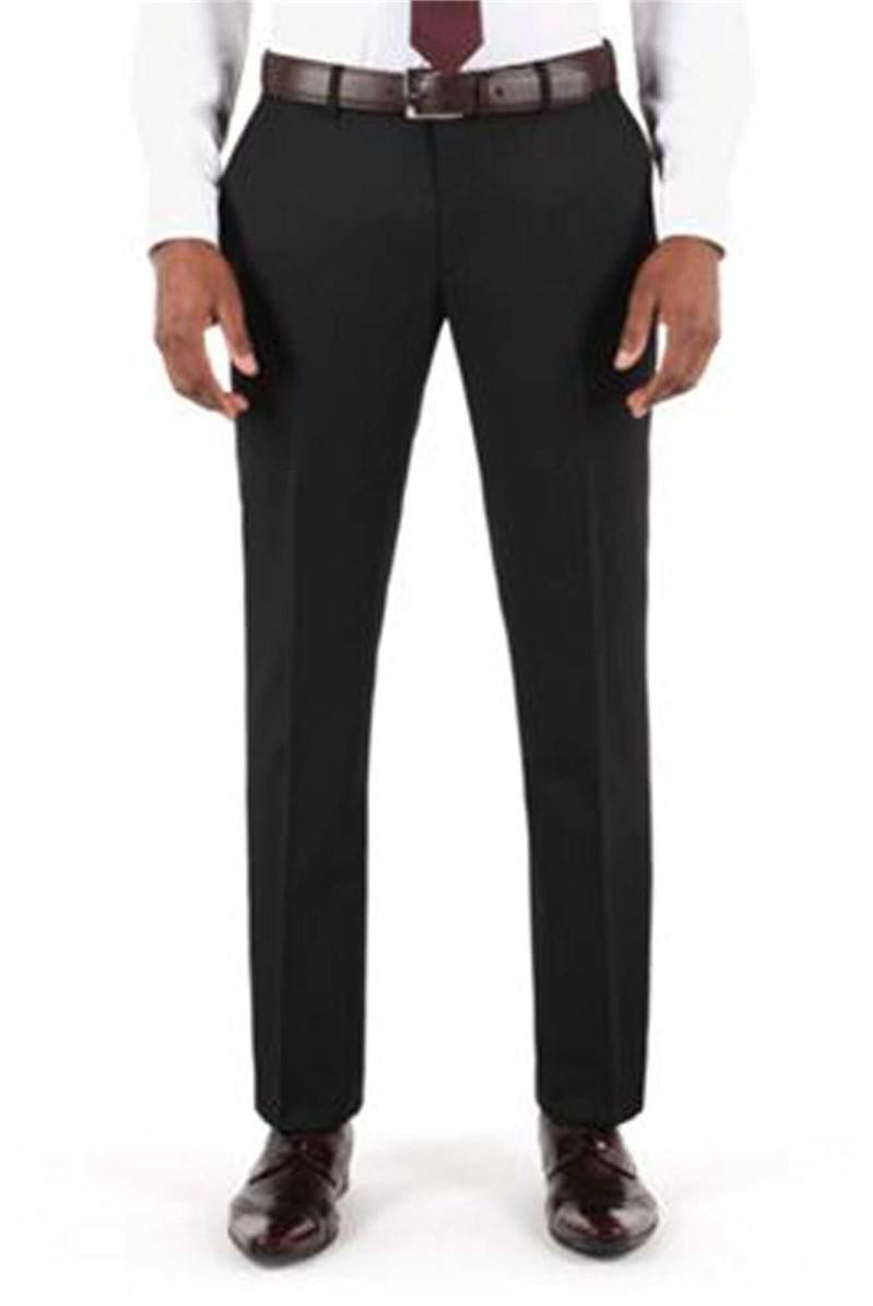 Plain Black Twill Tailored Fit Suit Trouser
