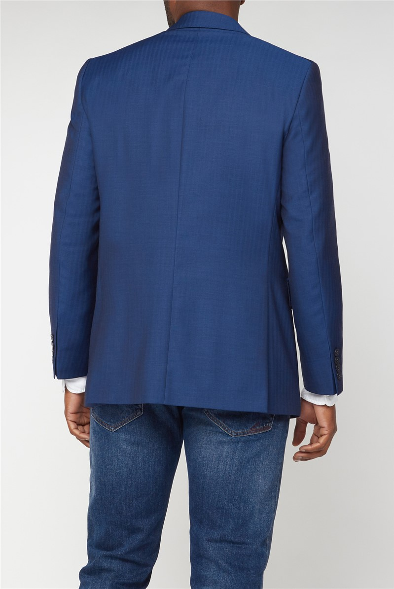 Hammond & Co. Blue Herringbone Tailored Fit Suit Jacket