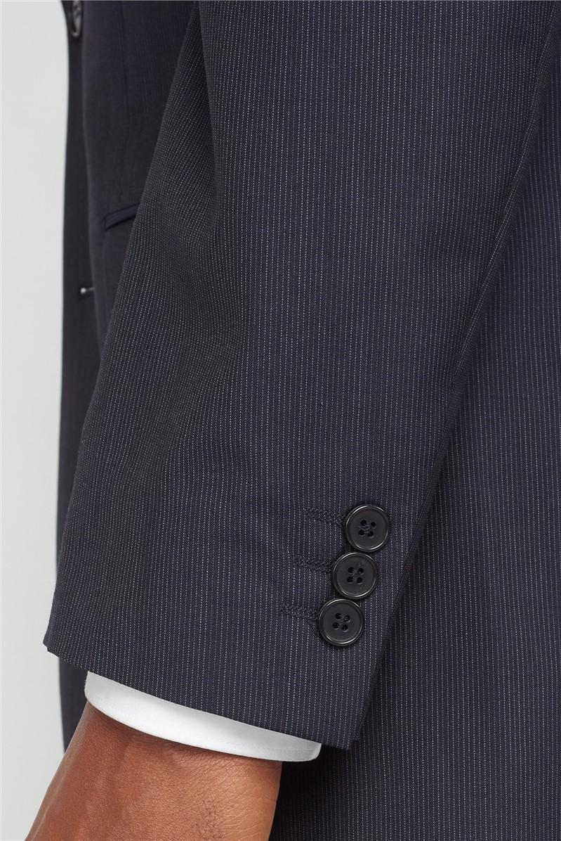 Navy Fine Stripe Regular Fit Suit Jacket
