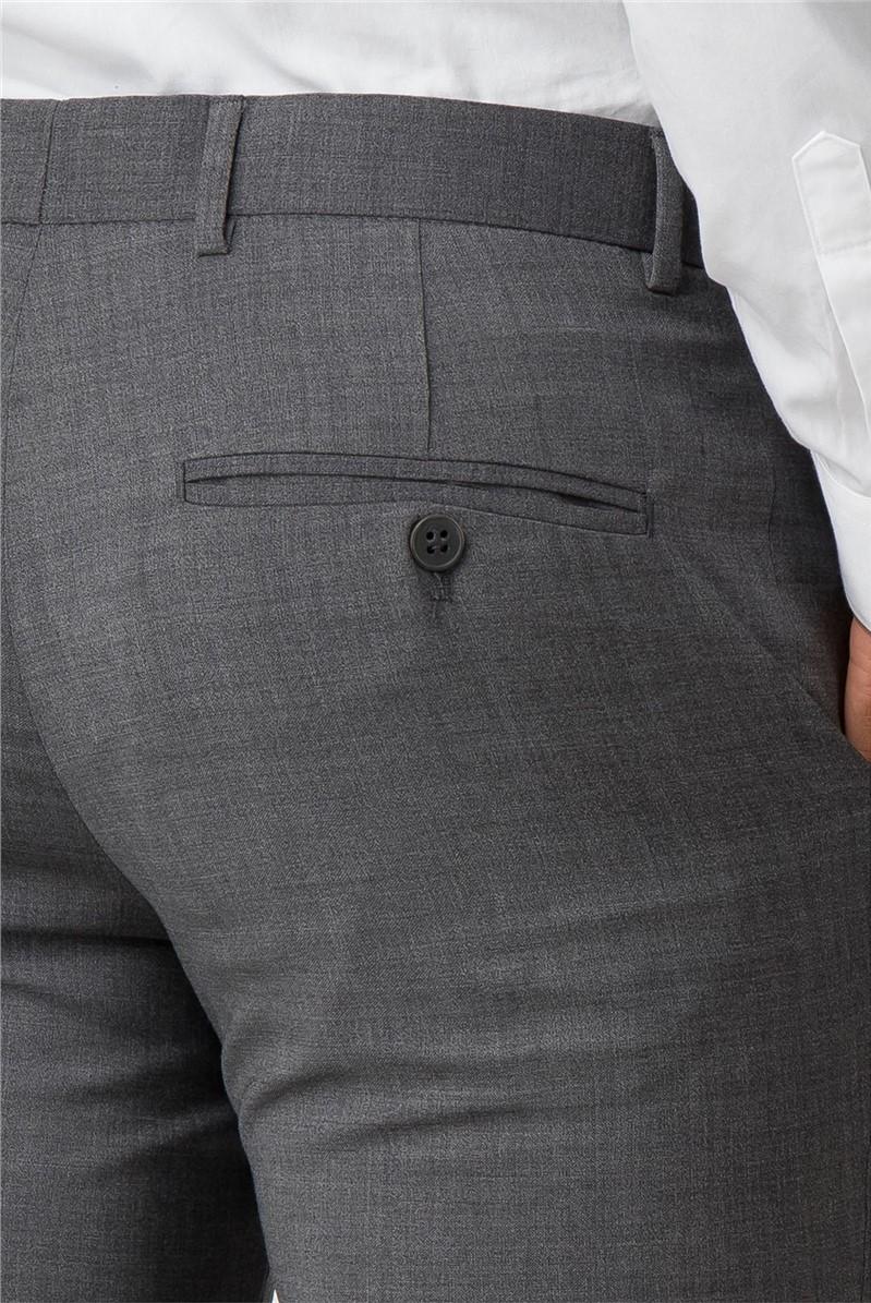Grey Textured Plain Front Slim Fit Kings Suit Trouser