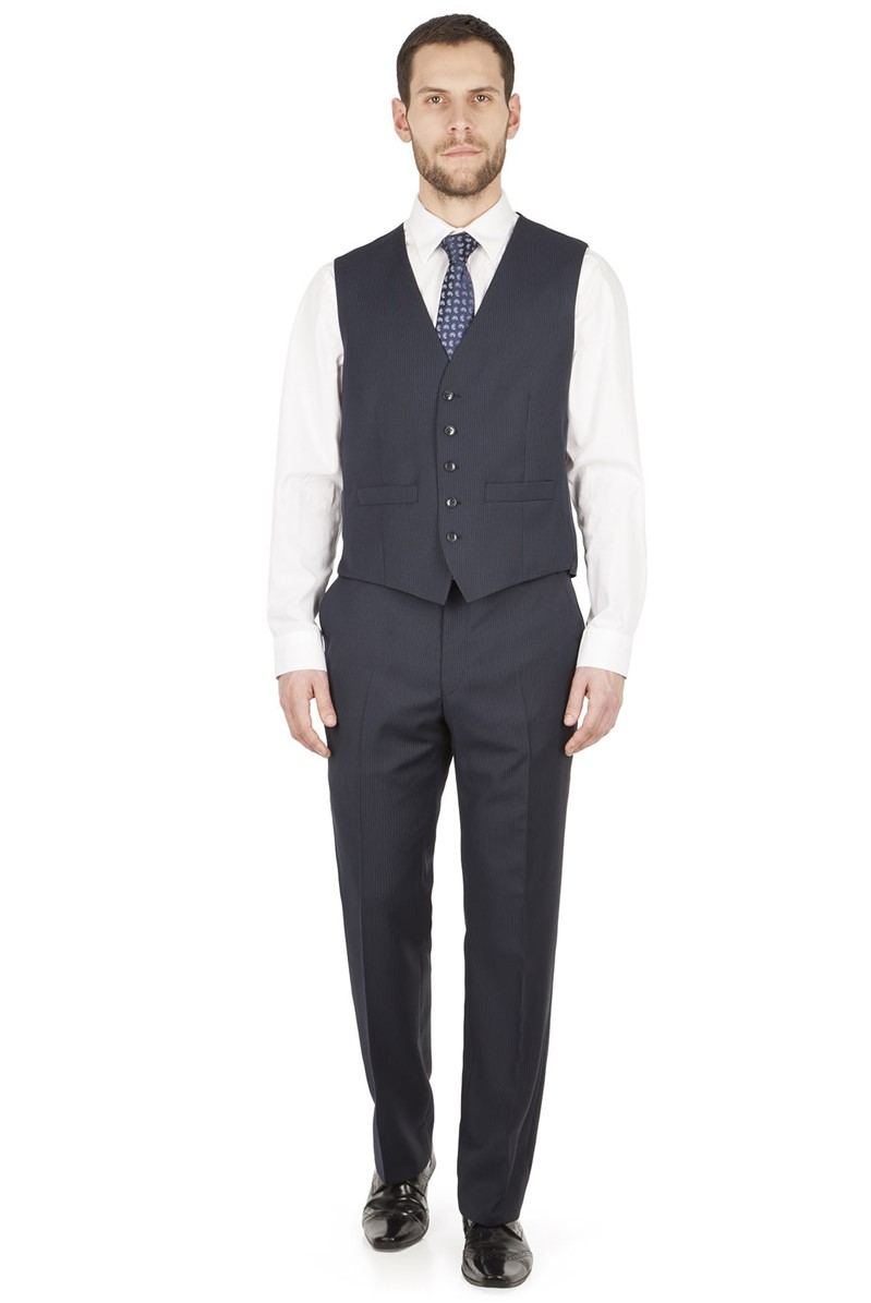 Navy Multi Stripe Regular Fit Waistcoat