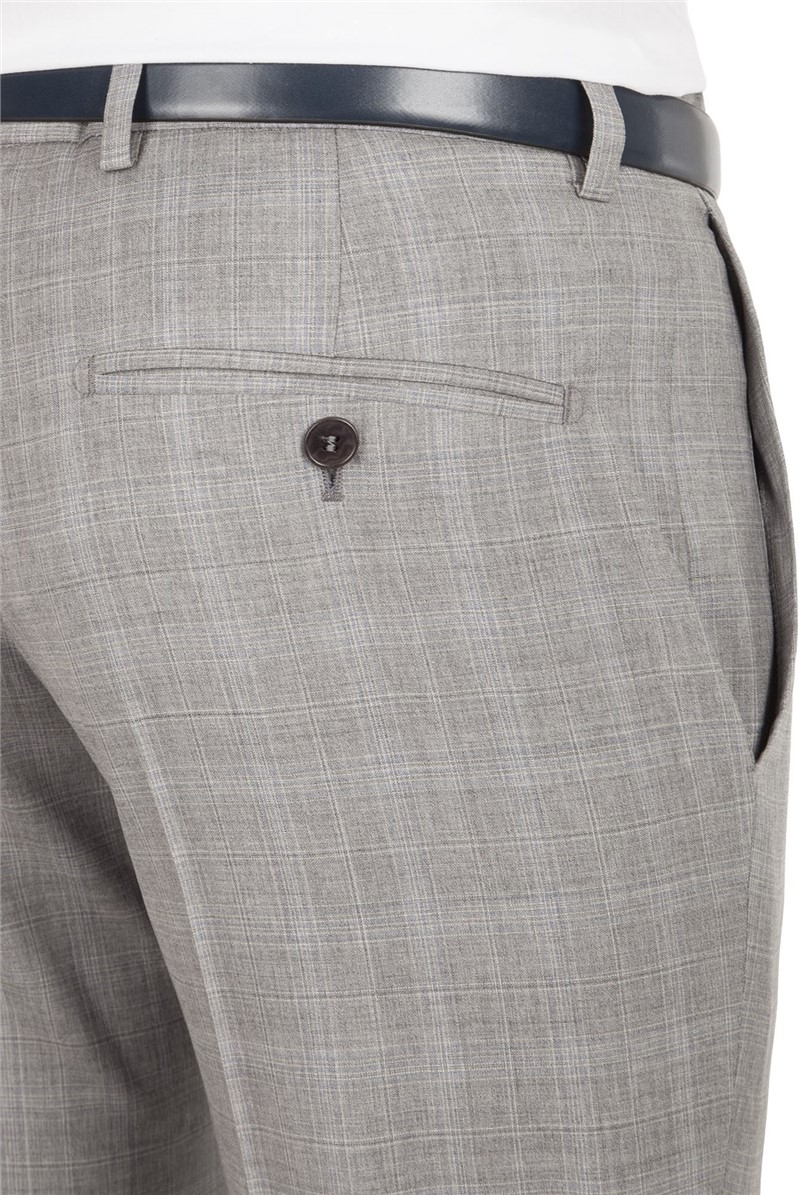 Grey Blue Check Tailored Fit Trouser