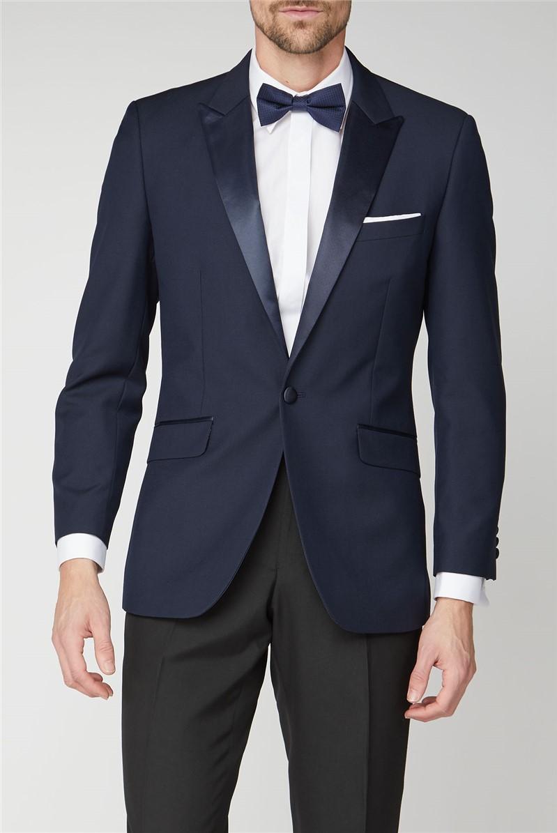Navy Jacquard Wool Blend Tailored Fit Dresswear Trouser