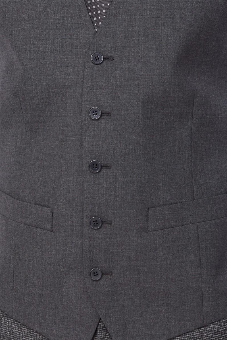 Charcoal Panama Wool Blend Waistcoat