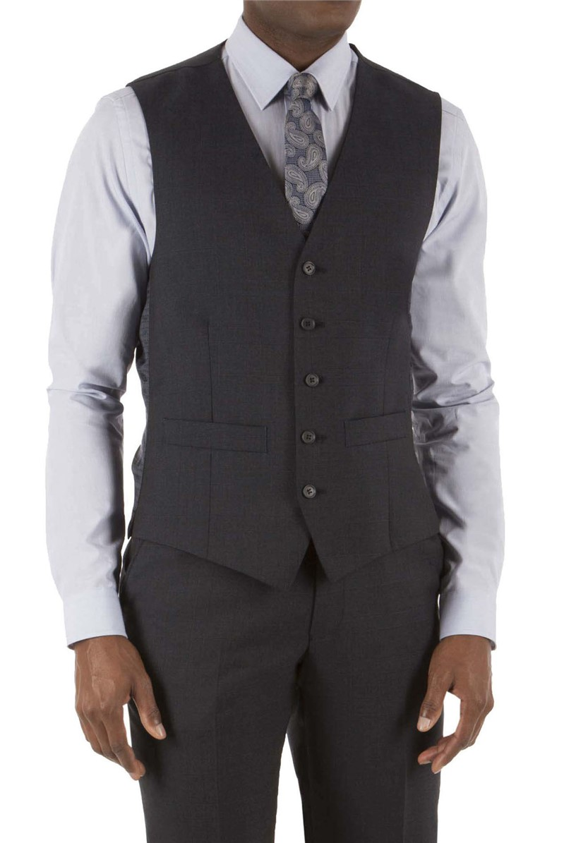 Blue Prince of Wales Check Regular Fit Waistcoat