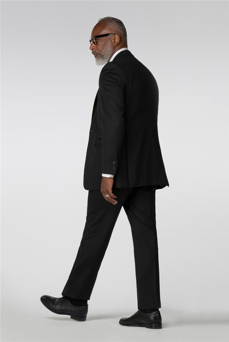 Performance Black Twill Regular Fit Suit Trousers