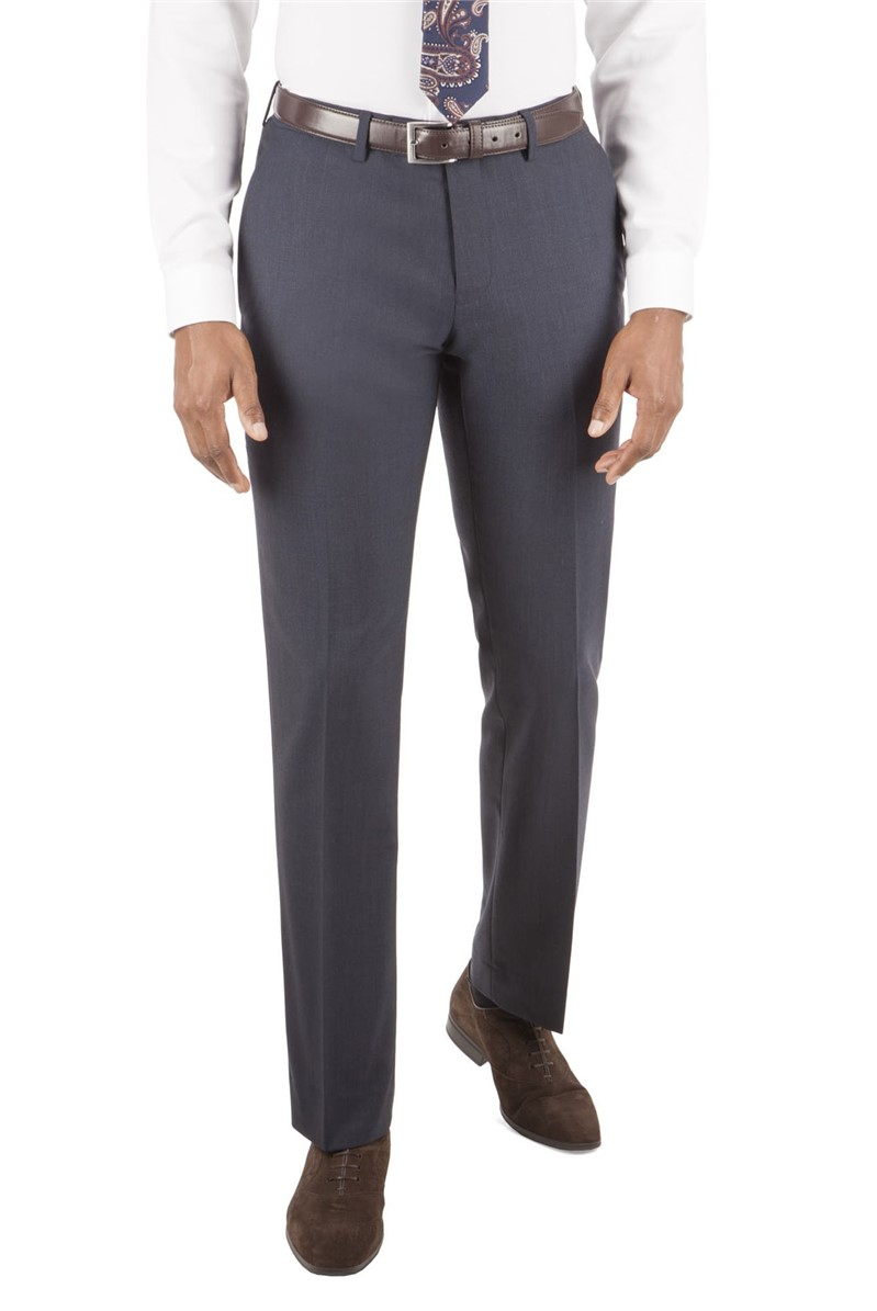 Navy Dobby Tailored Fit Suit Trouser