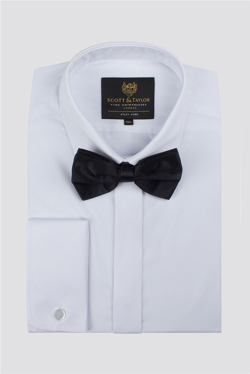 White Tuxedo Shirt And Bow Tie Set