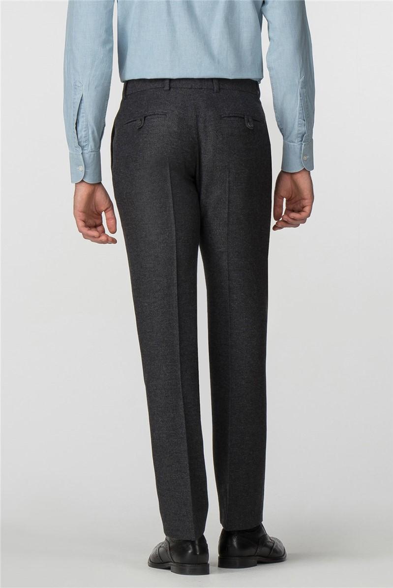 Charcoal Herringbone Tailored Fit Trousers