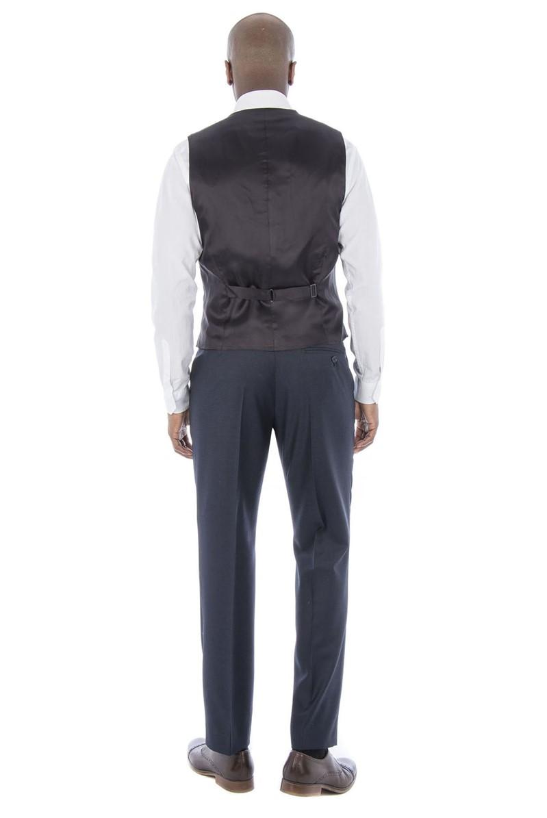 Navy Micro Regular Fit Waistcoat