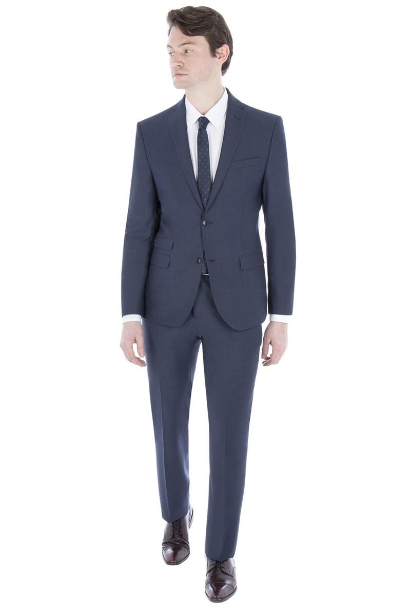 Blue Semi Plain Slim Fit Suit