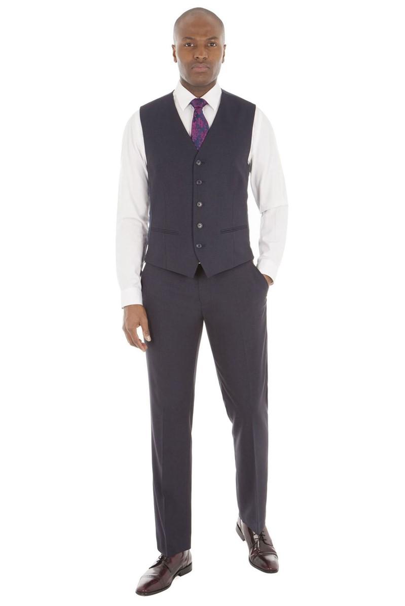 Navy Tonal Check Tailored Fit Waistcoat