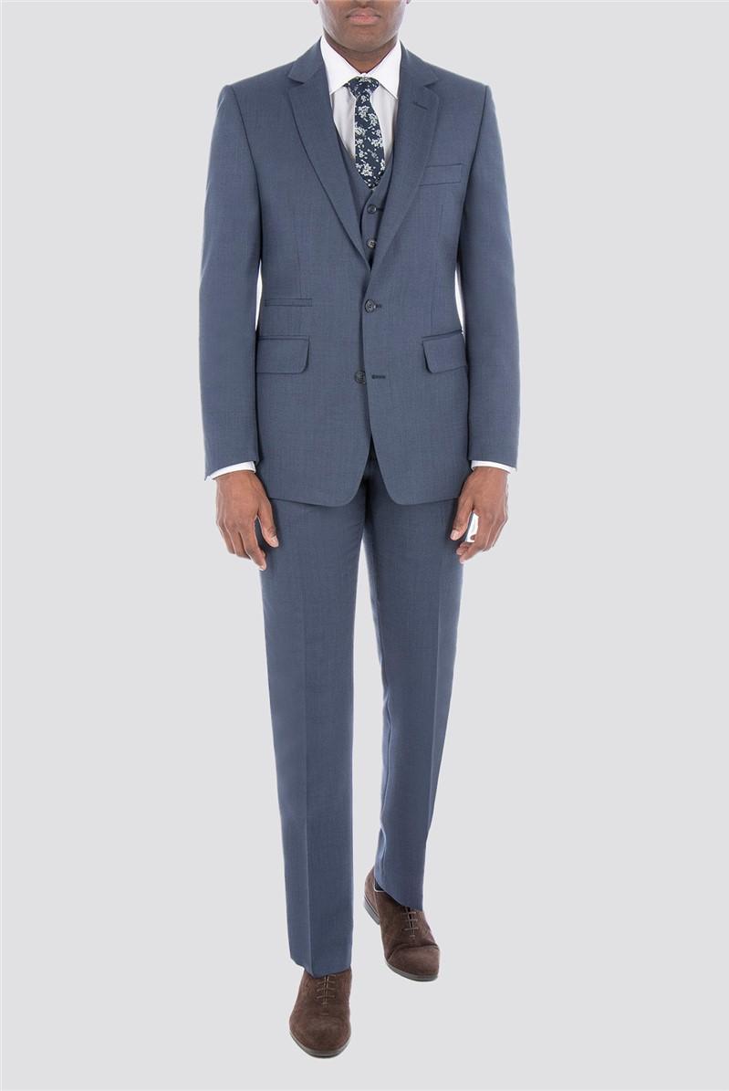 Slate Blue Textured Check Waistcoat