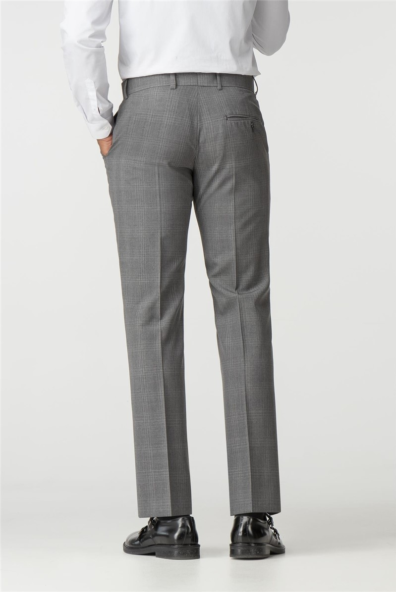 Grey Tonal Check Wool Blend Tailored Trousers