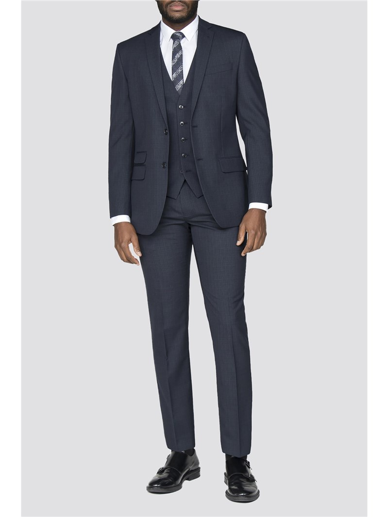 Navy Broken Check Wool Blend Tailored Fit Suit Jacket