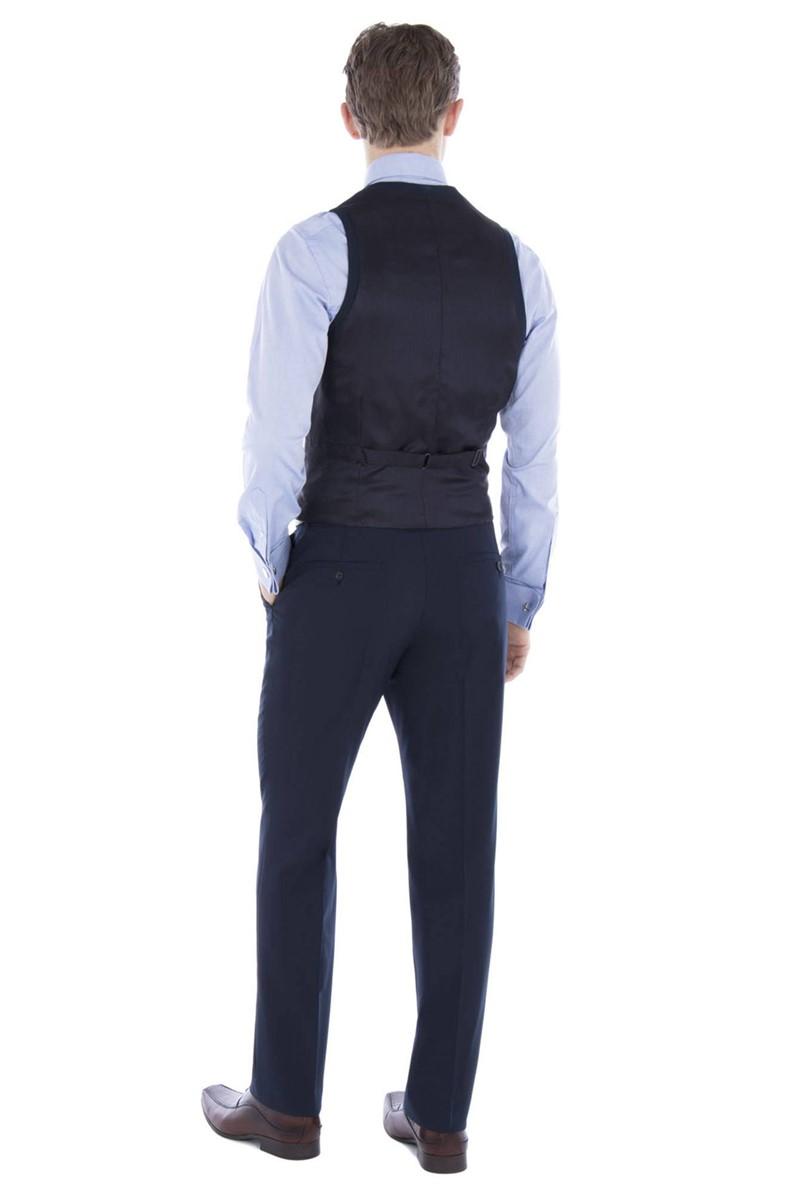 Navy Plain Regular Fit Travel Waistcoat