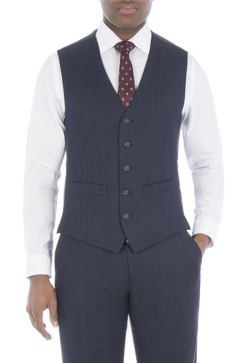 Navy Birdseye Regular Fit Waistcoat