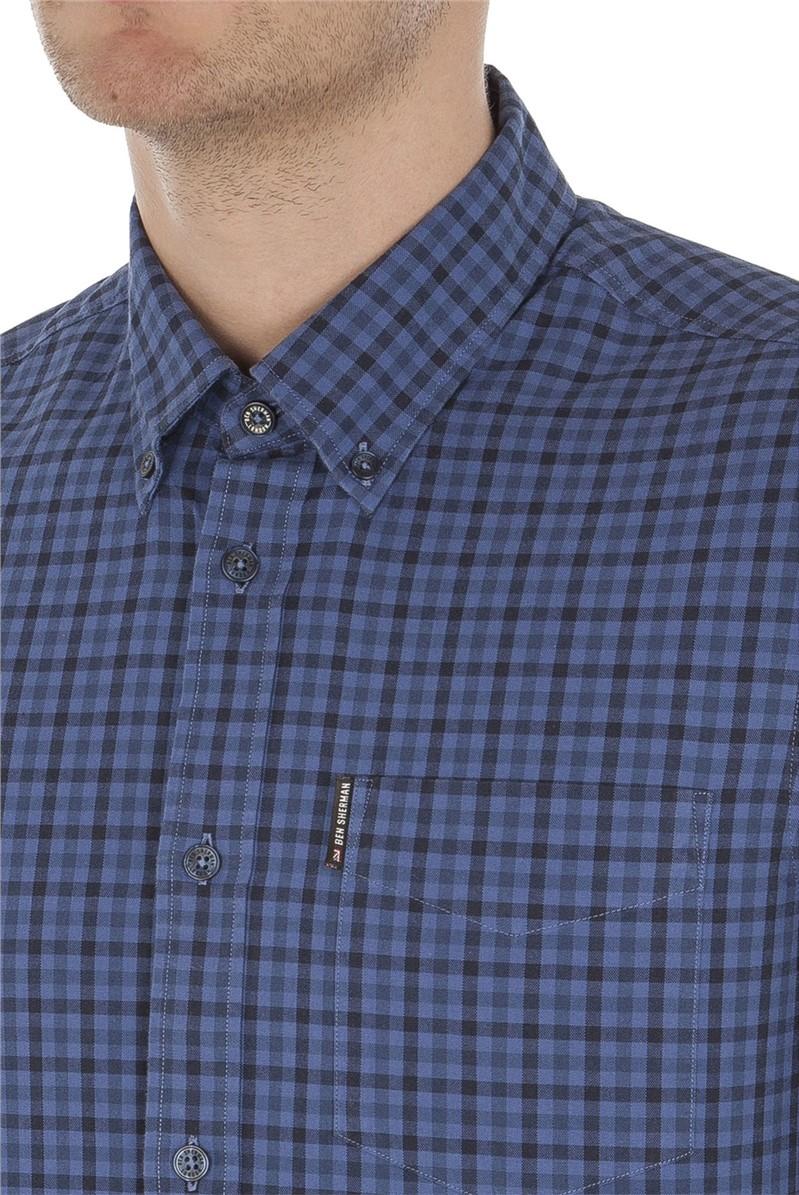 Long Sleeve Blue Gingham Shirt
