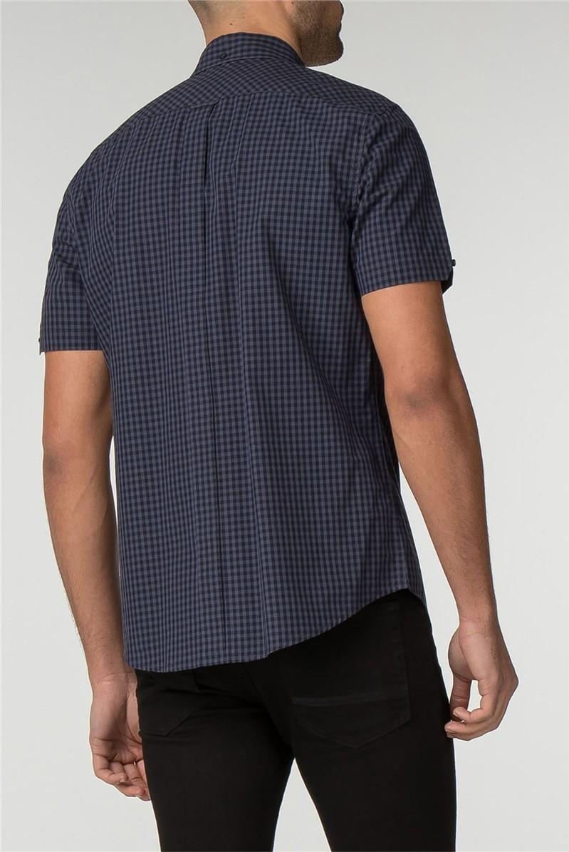 Phantom Blue Short Sleeve Gingham Shirt