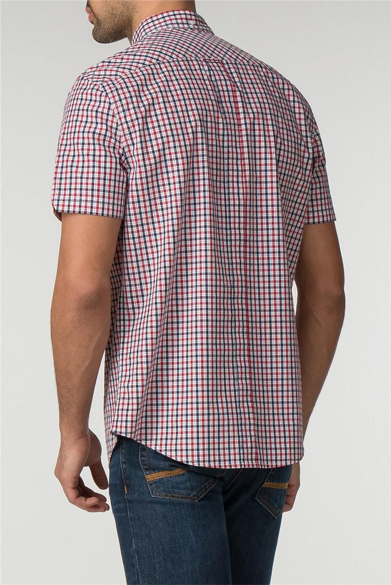 Short Sleeve Blue House Check Shirt