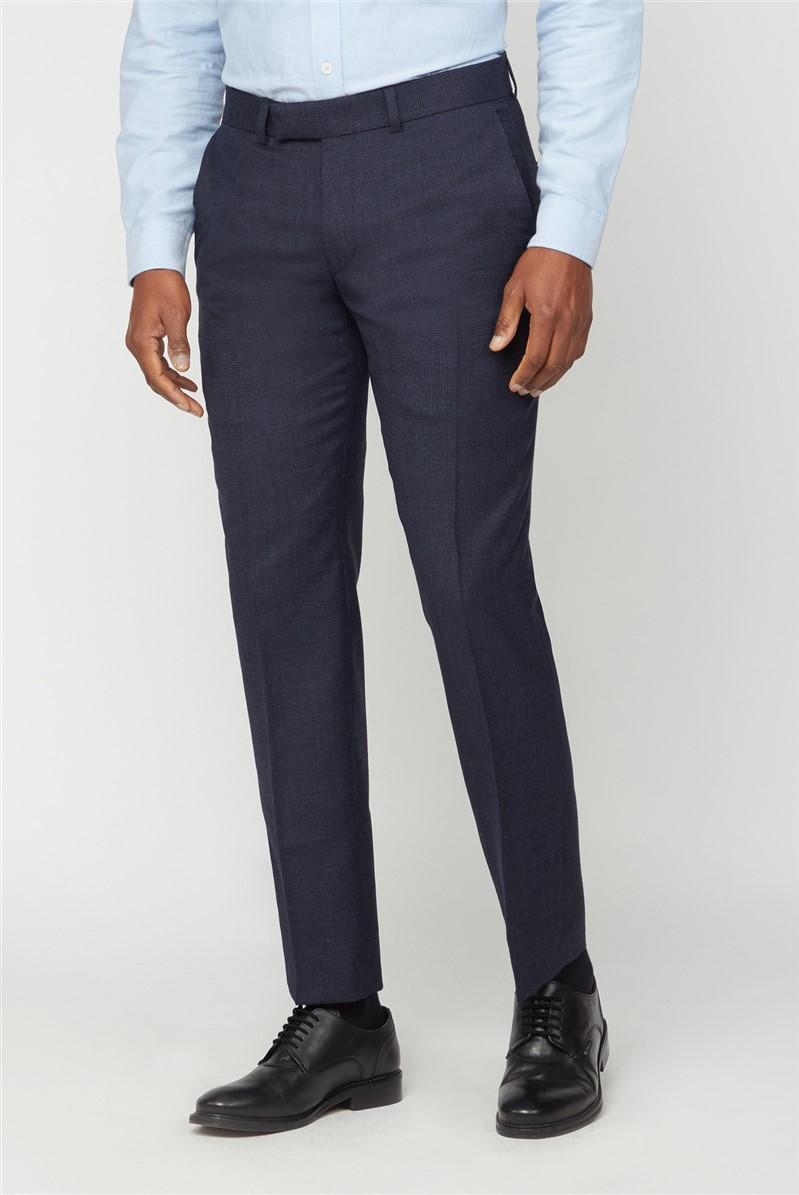 Hammond & Co. Navy Grid Semi Plain Trouser
