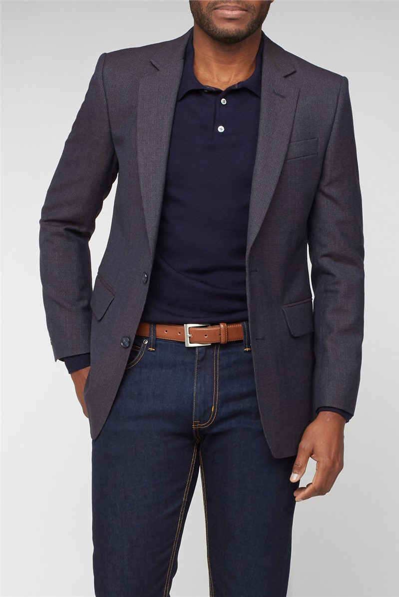 Navy & Brown Puppytooth Suit Jacket