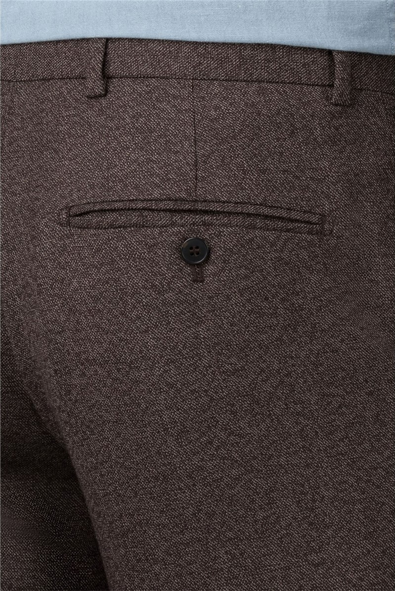Brown Textured Tailored Trouser