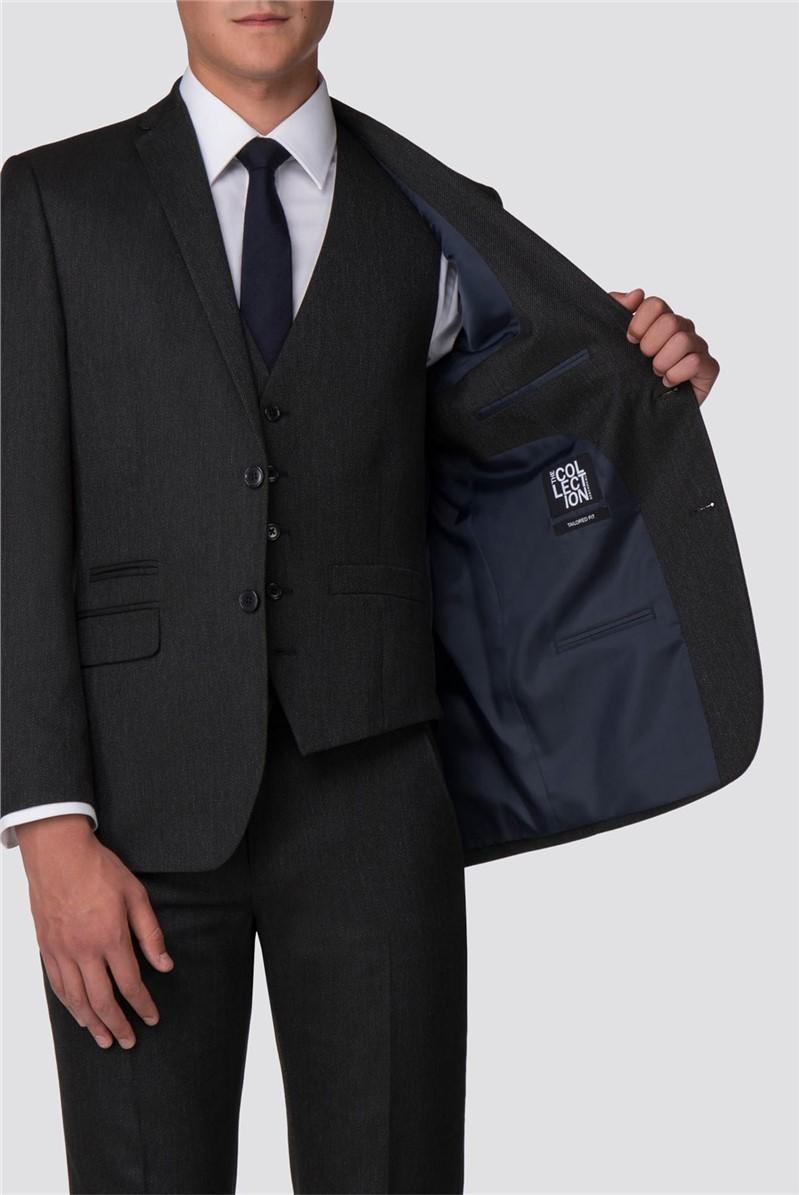 Dark Grey Birdseye Tailored Fit Suit