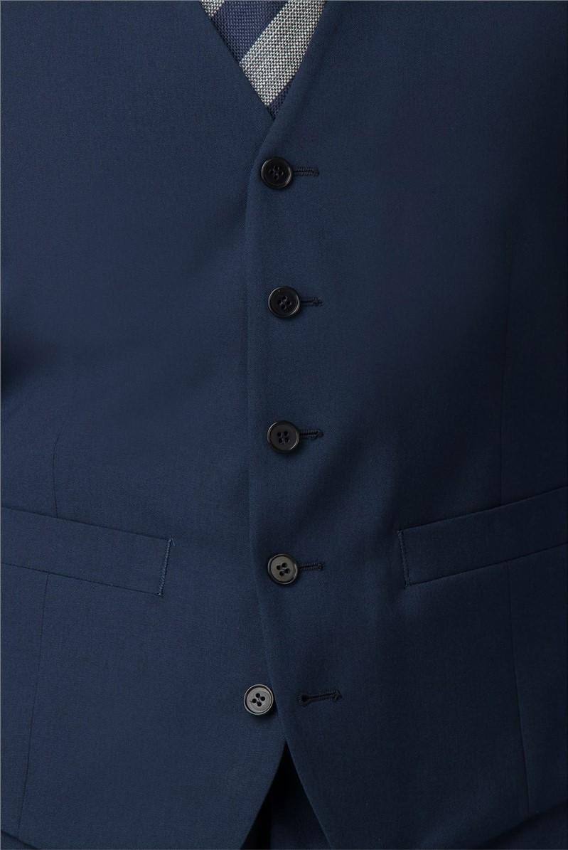 Plain Blue Panama Regular Fit Waistcoat