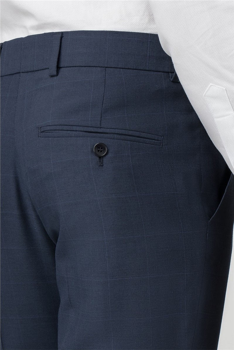 Blue Check Tailored Fit Trousers