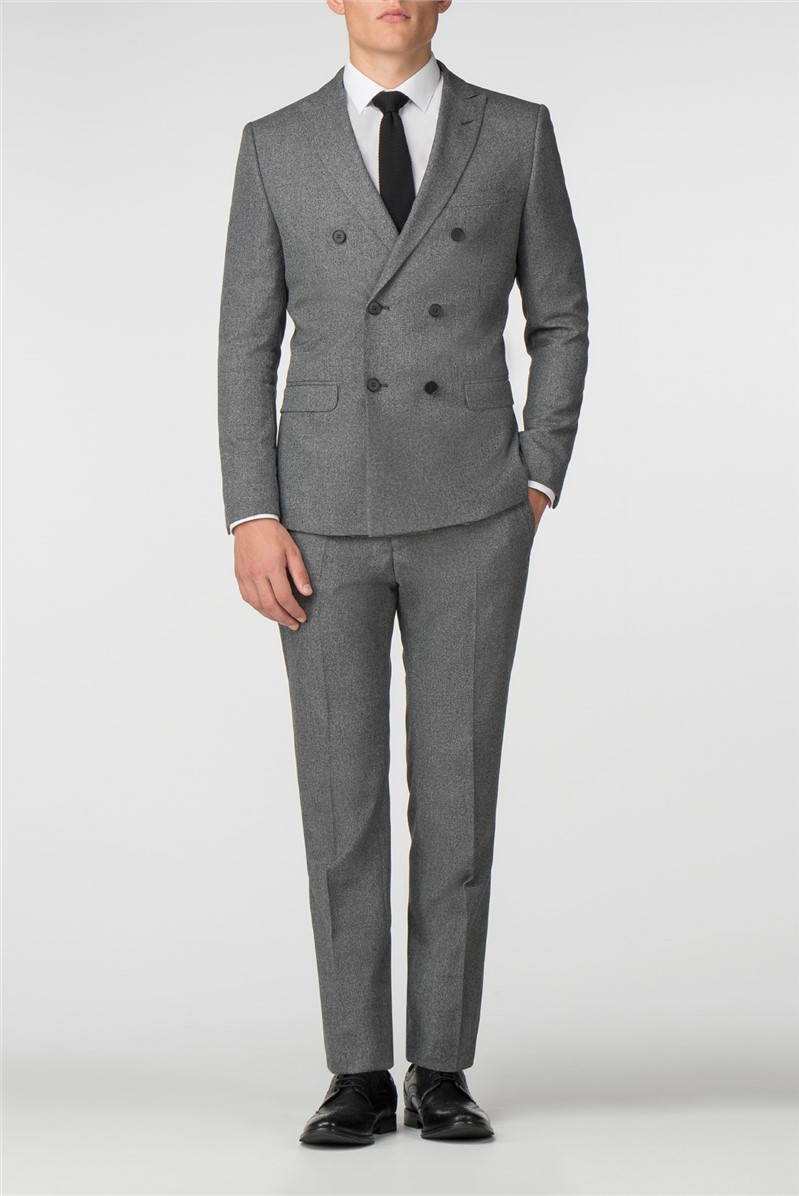 Grey Jaspe Double Breasted Slim Fit Suit