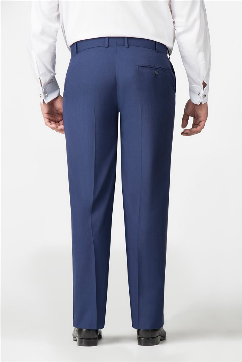 Blue Textured Regular Fit Trousers
