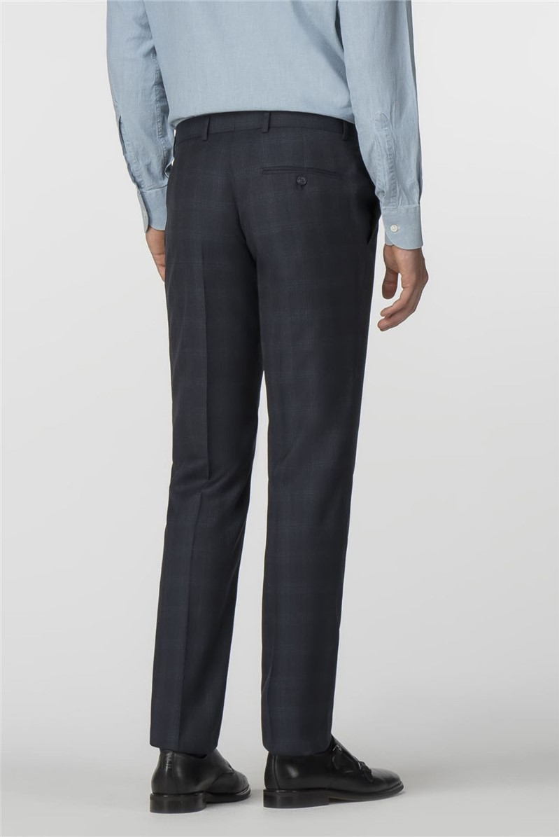 Navy Jaspe Check Tailored Fit Trousers